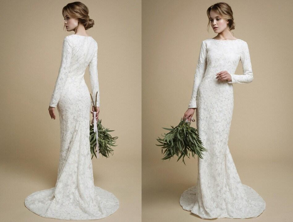 Cheap lace long sleeve wedding dresses