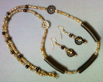 Brass, Iris Brown and Gold Necklace and Earrings (0608)