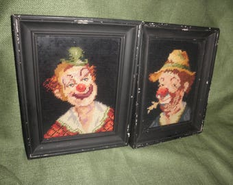 Clown Art In Needle Point Antique