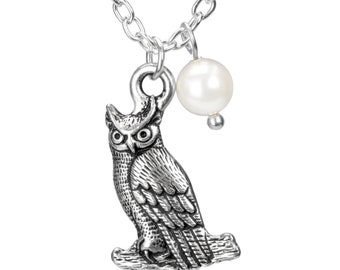 Owl Necklace - Choose Length - Owl Necklace with Pearl, Silver Hedwig Boho Hippy Wicca Pagan Witch Nature Twin Peaks Graduation Teacher Gift