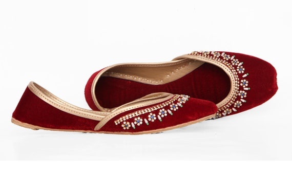 Red Khussa Red Red Ballet Mojari Jutis Shoes Red Embellished Flat 4wWraxZp4q