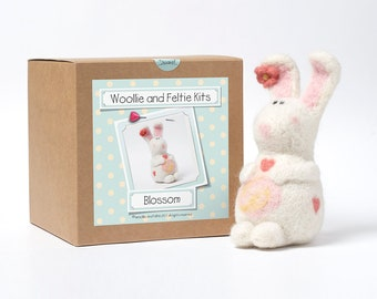 Rabbit Needle Felting Kit-Bunny Kit-Felting gift-Needle Felting Kit-Woollie and Feltie Kit, Blossom Kit