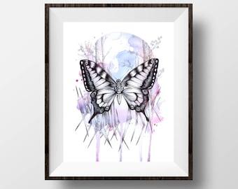 """Inky Swallowtail Butterfly - Purple Butterfly Print, Watercolour Butterfly, Ink Butterfly Art, Pencil Ink Illustration Art Print - 8x10"""""""