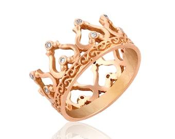 Rose Gold Crown Ring, Gift for Her, Diamond Crown Ring, Crown Wedding Band, Engagement Ring, Boho, Unique Engagement Ring, Crown Jewelry