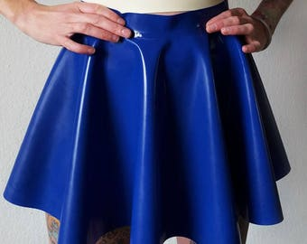 Colored latex full circle mini skater skirt XS - 5XL