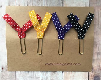 4 swiss dot ribbon paper clips - red, yellow, purple, black with white swiss dots - gold toned clip - end of year teacher gift