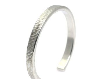 Thin Chased Aluminum Cuff - Silver Stackable Mix and Match Cuffs - Handmade Silver Toned Jewelry for Women and Men - 10th Anniversary Gift