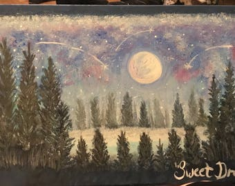 Moon and shooting stars acrylic landscape painting