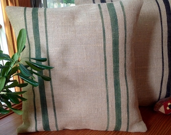 Woodland Green Striped Burlap Pillow/Rustic Grain Sack Vintage Pillow Cover 20x20 or 22x22 Feed Sack Burlap Pillow Cover by sweet janes plan