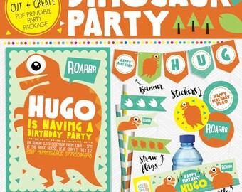 Printable Personalised WILD DINOSAUR Birthday Party Package * Invitation * Hat * Banner * Flags * Stickers Orange ROAR