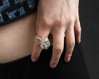 Oversize dramatic costume bobble handmade indie ring