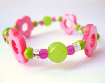 Girls Bracelet Pink Flowers Pink and Green, Childrens Jewelry, Medium, GBM 126