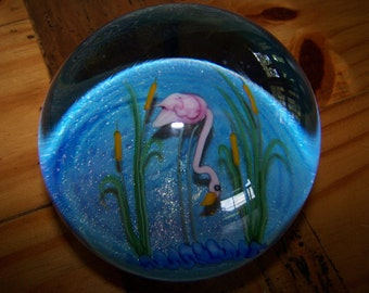 Vintage Art Glass Flamingo Paperweight by Lundberg Studios