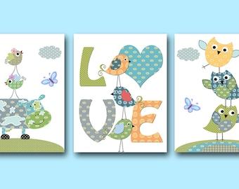 Nursery Wall Art Baby Boy Nursery Art Print Children Wall Art Baby Room Decor Kids Print set of 3 Owls Birds Cow Blue Green Love