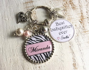 PERSONALIZED Babysitter Gift Nanny Gift-for-Babysitter Gift-for-Nanny Necklace-for-Babysitter Necklace-for-Nanny Keychain-for-Babysitter