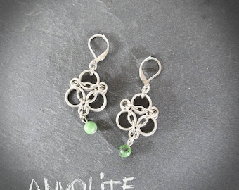 Mesh side - medieval Jewelry - Silver stainless steel - gemstone beads - - chainmaille - loblada earrings