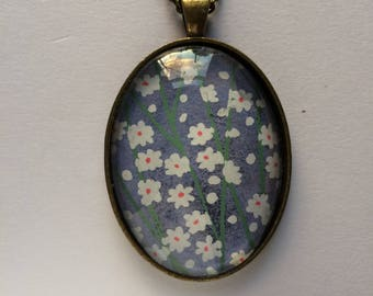 Pendant made with Japanese Chiyogami paper - Oval JP25
