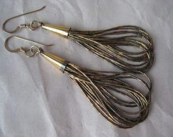 Liquid Silver Gold Dangle Sterling Earrings Pierced Wire Vermeil Vintage 925 Southwest