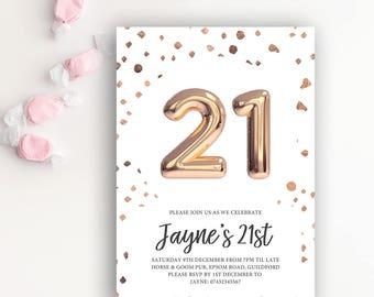 Birthday Invites Flamboyant Invites Wedding Event Stationery - 21st birthday invitation templates