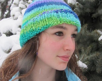 Knit Hat Multicolor Twist Spiral Stocking Cap Adult Teen Child