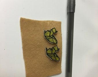 Yellow Geometric Squirrel Stud Earrings