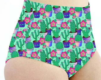 Cactus High Waisted Cheeky Shorts. Pole Dance Shorts. Pole Fitness Shorts. Booty Shorts. Bikini Bottoms. Reversible Shorts. Plant Shorts