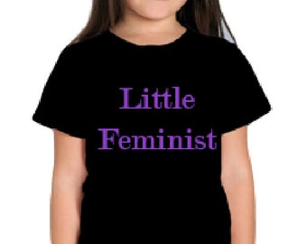 Feminism Children's 'Little Feminist' T-shirt Top Black White Kids Slogan Unisex Girls Boys Teen