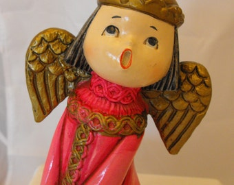 Vtg Singing Angel Chalkware Pink Dress Japan Christmas  (242)