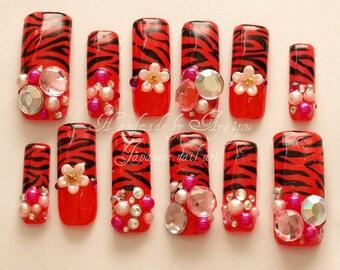 Long nails, dope, sexy nails, red nails, animal print, party nail, acrylic nail, press on nails, 3D Japanese nail, fake nail 3D, nails