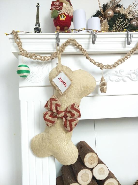 Burlap Christmas Stockings Part - 39: Personalized Dog Bone Christmas Stockings Burlap Christmas