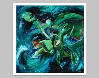 DARK WATER, original abstract painting, CHOOSE Frame