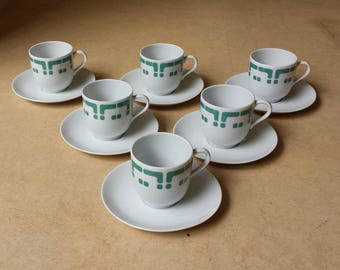 Mosa 80 and 110, Maastricht, Netherlands: six vintage seventies coffee cups with saucers, jade green 'primitive' decoration