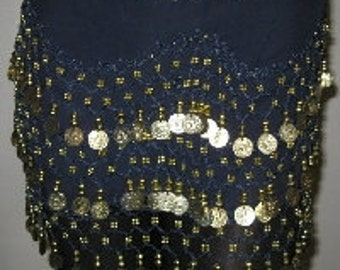 Belly DANCE Hip SCARF With Gold Coins NOISY Dark Navy