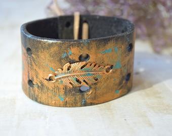 Upcycled leather mens bracelet cuff Feather Wristband tribal Boho Chic western cowboy native american indian southwest bracelets Boho cuff