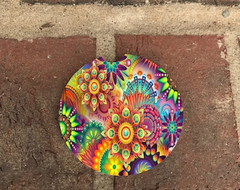 Custom Colorful Abstract  SandStone Car Coasters (set of 2),Personalized Car Coaster, Paisley Car Coaster, Gift Ideas (set of 2)