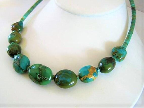 Turquoise Bead Necklace, Genuine Turquoise, Turquoise Heishi Choker