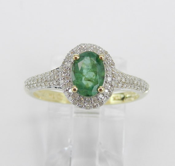 Yellow Gold Diamond and Emerald Halo Engagement Ring May Birthstone Promise Size 7