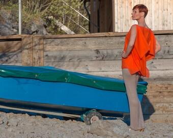 Orange Sommer Top, Sommerbluse, Seiden Tunika, Moderne Blusenshirt, Blusen top, Oversized summer tunik, Sommeroberteil