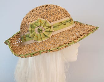 Beach Hat. Wide Brim Seagrass Sun Hat with Green Ribbon Trim. Natural Straw Hat. Women's Summer Fedora. Cockade, Hand Embroidered Millinery