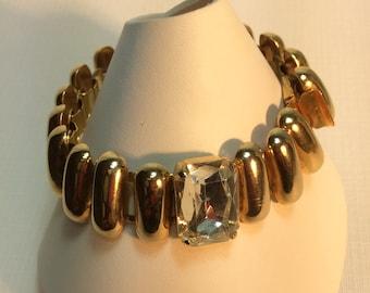 Vintage Modernist Gold And Rhinestone Bracelet
