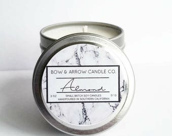 2 oz Natural Soy Candle Almond Scented | 2 oz Tin Candle | Almond Scent Candle | Almond Soy Candle | Almond Oil Candle | Scented Soy Candle