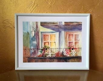 Romantic balcony watercolor