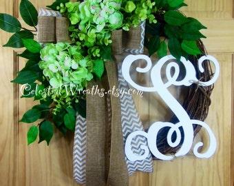 spring wreath - lime green hydrangea - grapevine wreath - Monogram wreath -easter Wreath - Hydrangea wreath