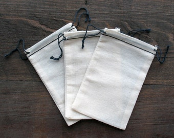 50 3.25x5 Black Hem and Black Double Drawstring Cotton Muslin Bags