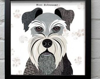 Mini Schnauzer dog print