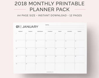 2018 Monthly Calendar Planner Printable Pack | Landscape | Monday and Sunday Start | A4