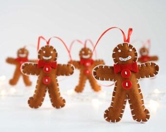 Pure wool felt gingerbread man decoration