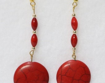Red Howlite earrings** Encourages emotional expression** Creativity and calming help** 2.5 inches    E-1077