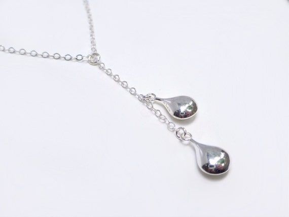 Sterling silver teardrop necklace teardrop y lariat mother sterling silver teardrop necklace teardrop y lariat mother of two womens simple necklace raindrop pendant jewelry gift for her under 50 mozeypictures Choice Image