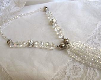 SOLD on Reserve SALE 1920s Art Deco Style Tassel Crystal Necklace,Fashion Statement Gatsby Long 48 Inch Necklace Bracelet Set,313